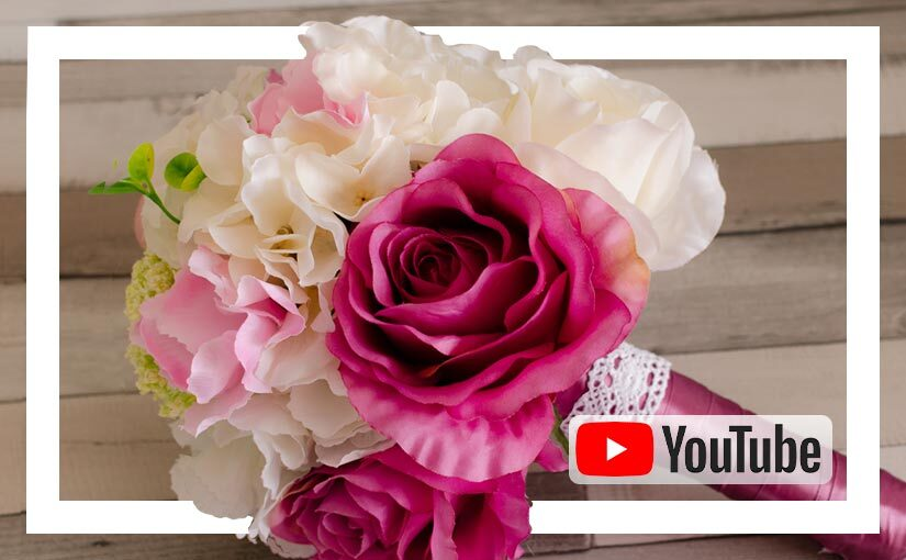 Video buchet mireasa/ nasa cu flori de matase roz