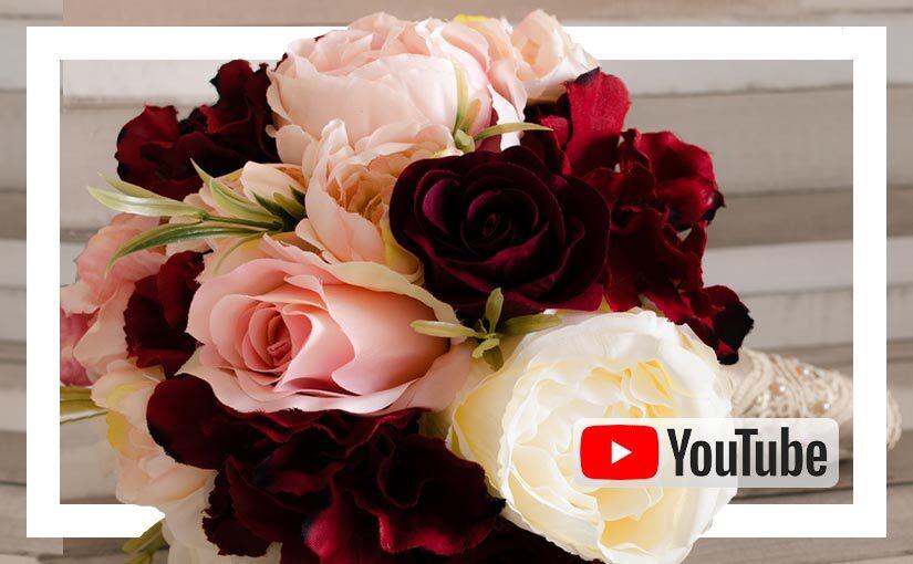 Video buchet mireasa/ nasa cu flori de matase grena