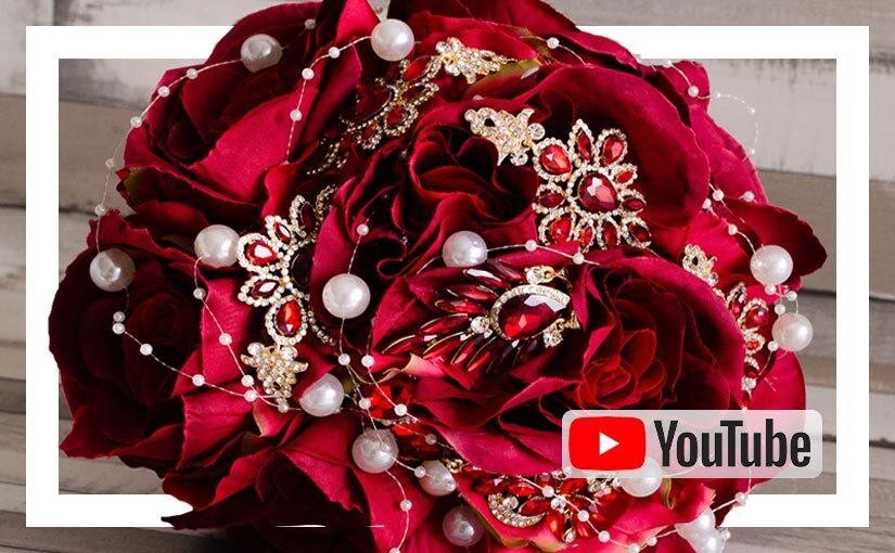 Video buchet handmade cu trandafiri si brose