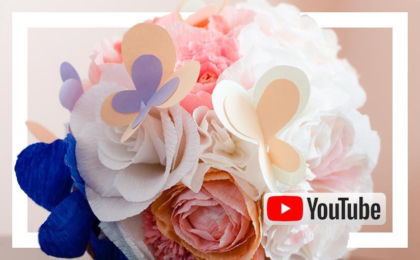 Video buchet cu flori din hartie pastel
